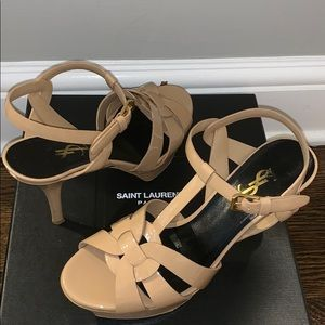 YSL TRIBUTE SANDALS IN PATIENT LEATHER